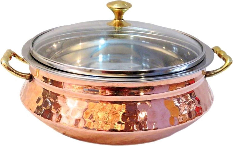handmade dinnerware copper and stainless steel vegetable bowl, 500 ML copper serving dinner bowl copper Copper Serveware Karahi, bowl, one spoon on per set, Dinner Bowl, Solid Brass Handle