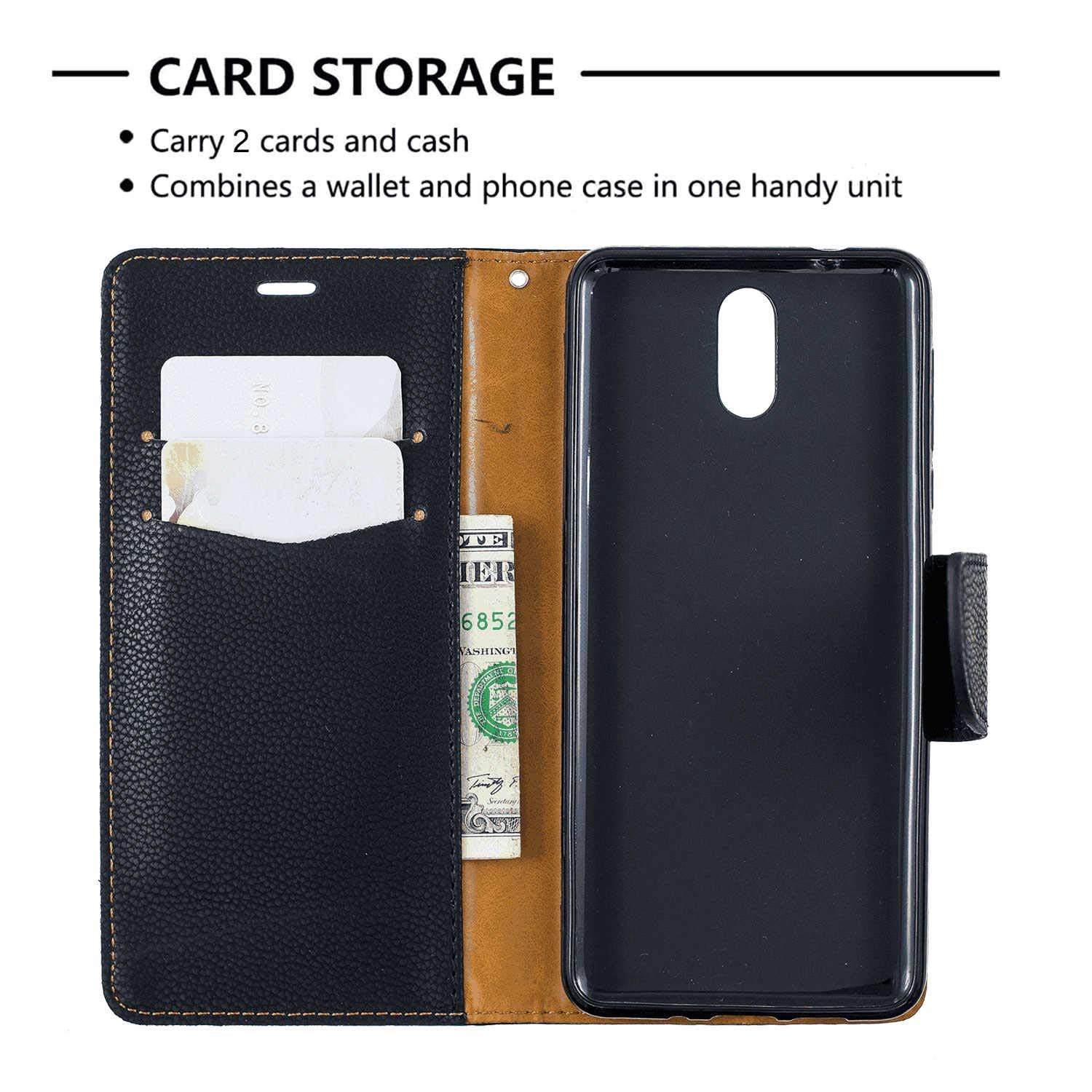 Cover for iPhone Xs Leather Kickstand Mobile Phone Cover Extra-Shockproof Business Card Holders with Free Waterproof-Bag Absorbing iPhone Xs Flip Case