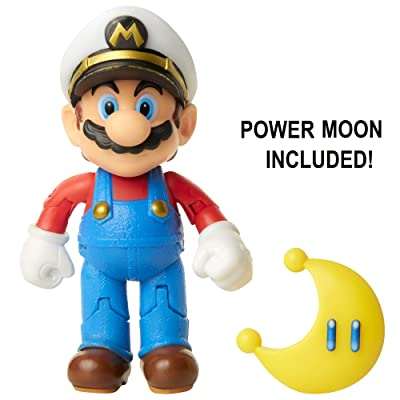 "Nintendo Super Mario Captain Mario 4"" Articulated Figure with Power Moon: Toys & Games"