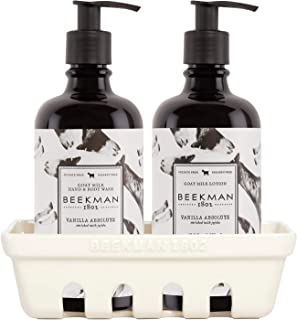 product image for Beekman 1802 - Hand Care Caddy Set - Vanilla Absolute - Goat Milk-Based Hand Wash & Lotion Set for Dry Hands - Naturally Rich in Lactic Acid & Vitamins - Cruelty-Free Bodycare - (2x 12.5 oz Each)