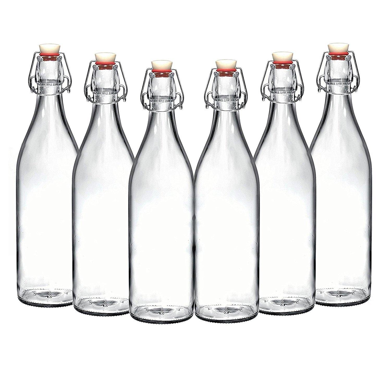 Set of 6-33.75 Oz Giara Glass Bottle with Stopper, Swing Top Bottles for Oil, Vinegar, Beverages, Beer, Water, Kombucha, Kefir, Soda, By California Home Goods