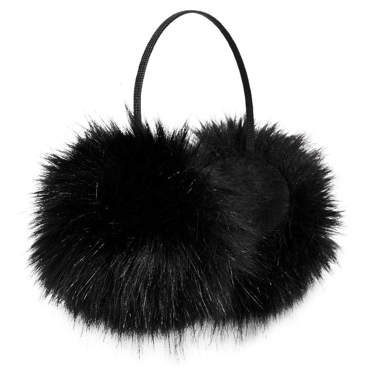 Betsey Johnson xox Trolls Faux-Fur Ear Muffs, Black