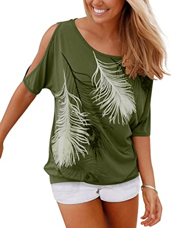 4d87b02bc16cde Aumir Women's Summer Casual Feather Print Round Neck Short Sleeve Off the  shoulder Loose T-