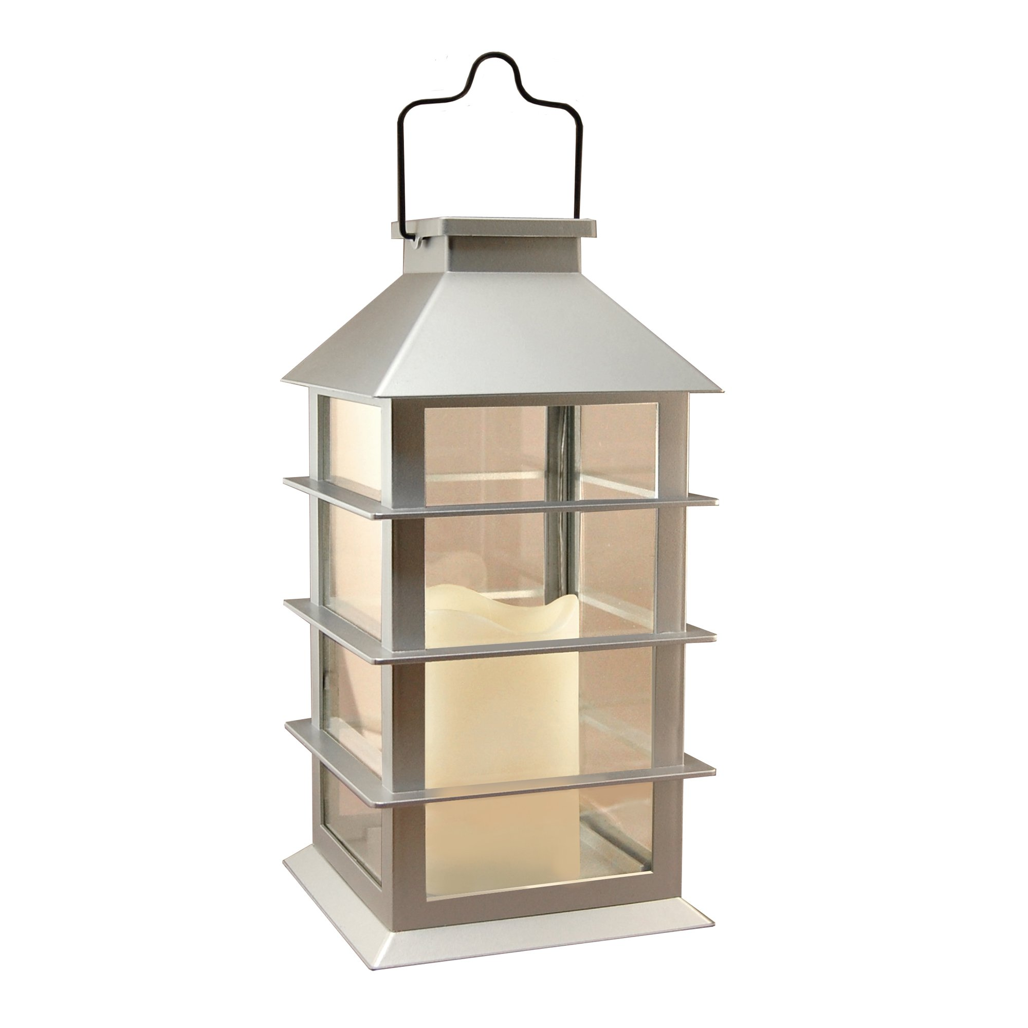 LumaBase 94101 Solar Powered Lantern with LED Candle, Silver
