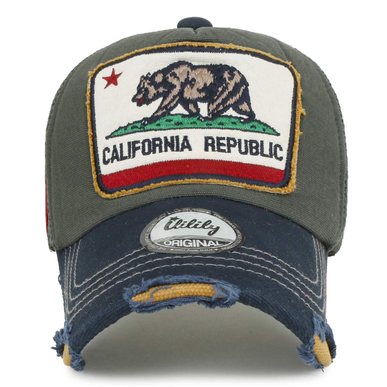 b91c3087 ililily Illustration Patch Distressed Cotton Baseball Cap Vintage Trucker  Hat, Black Mesh at Amazon Men's Clothing store: