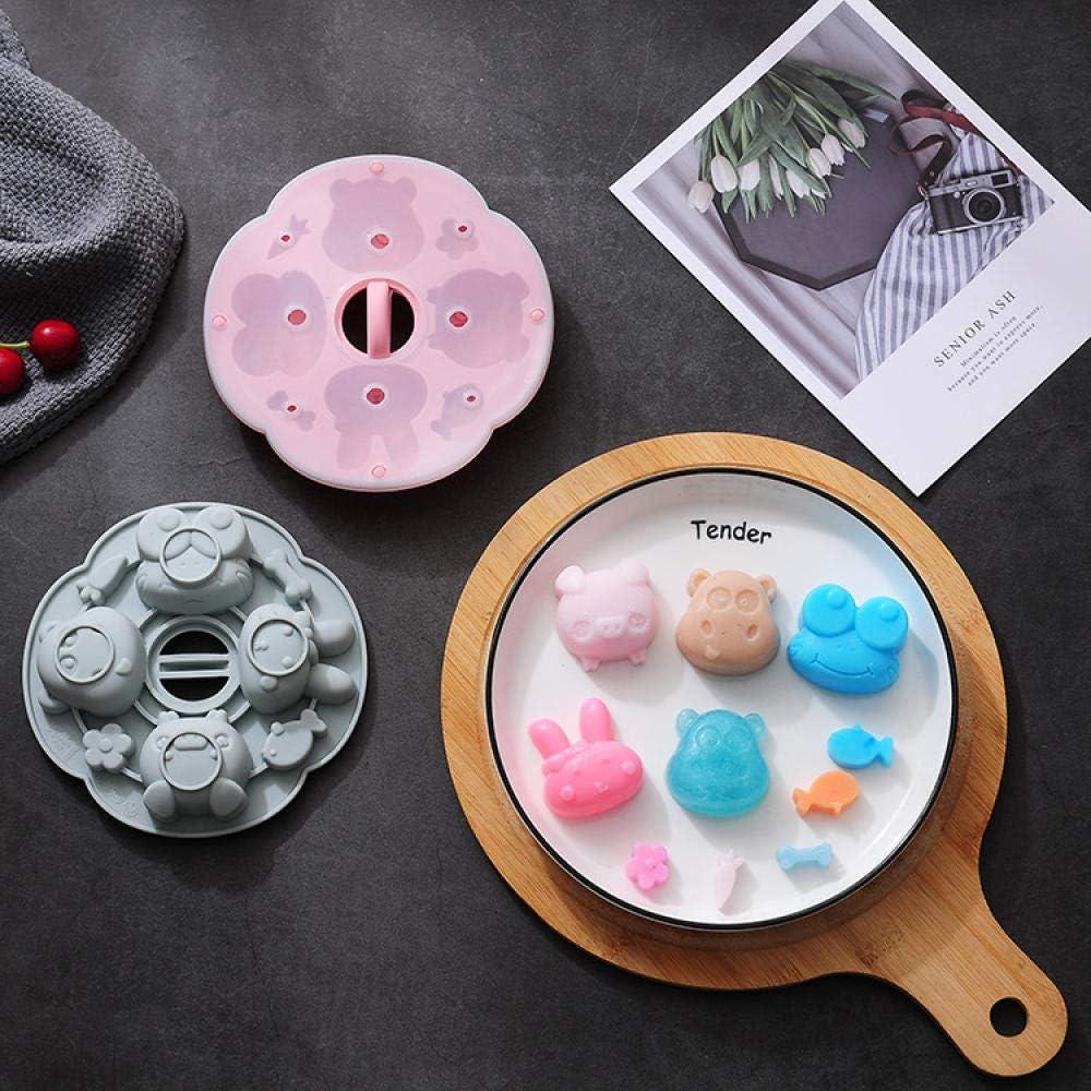 Molde de silicona con diseño de dibujos animados, para tartas de arroz, con tapa que se puede cocer al vapor, complemento de comida para bebé, postre, molde de tarta, color rosa, 15,5 x 15,5 x 3,2 cm