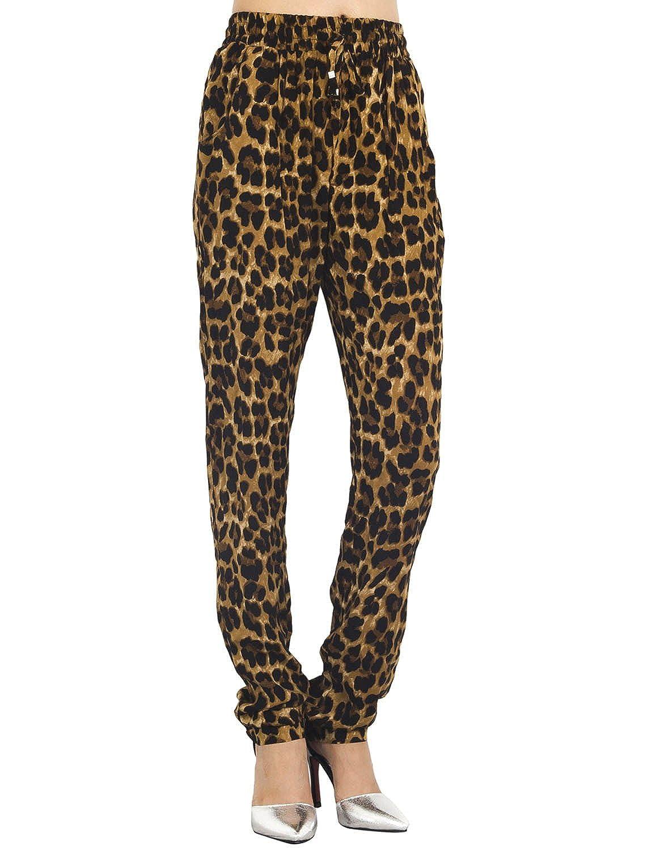 iB-iP Mujer Leopardo Estampados a Casuales Super Suave Lazo De Poca Altura Pantalones relajados