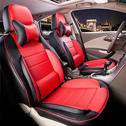 Excellent Amazon Com Perforated Leatherette Full Set Car Seat Covers Cjindustries Chair Design For Home Cjindustriesco