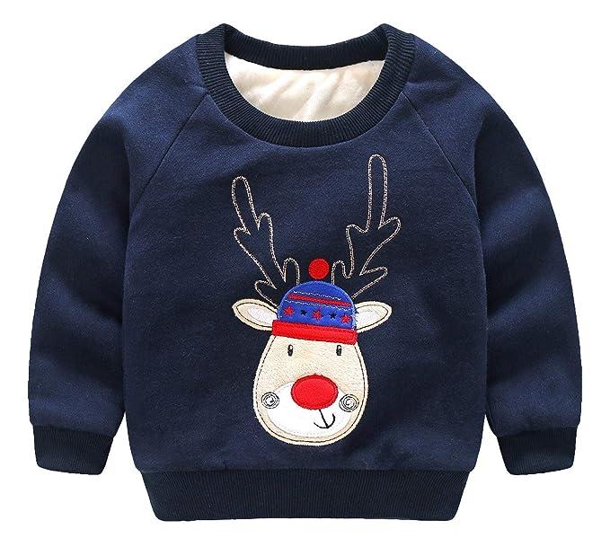 c807bbd3d2c74 HaoTong Hoodie sans Capuche Noël Enfant Garçon Polaire Chaud Pull-Over à  Manche Longue Col