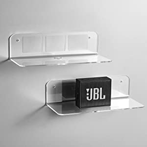 OAPRIRE Floating Shelves Set of 2 with Cable Clips - Easily Expand Wall Space - Acrylic Small Wall Shelf for Bedroom, Bathroom, Gaming Room, Living Room, Office - Clear