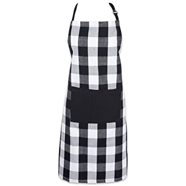DII Cotton Adjustable Buffalo Check Plaid Apron with Pocket & Extra-Long Ties, 32 x 28 , Men and Women Kitchen Apron for Cooking, Baking, Crafting, Gardening, & BBQ - Black & White