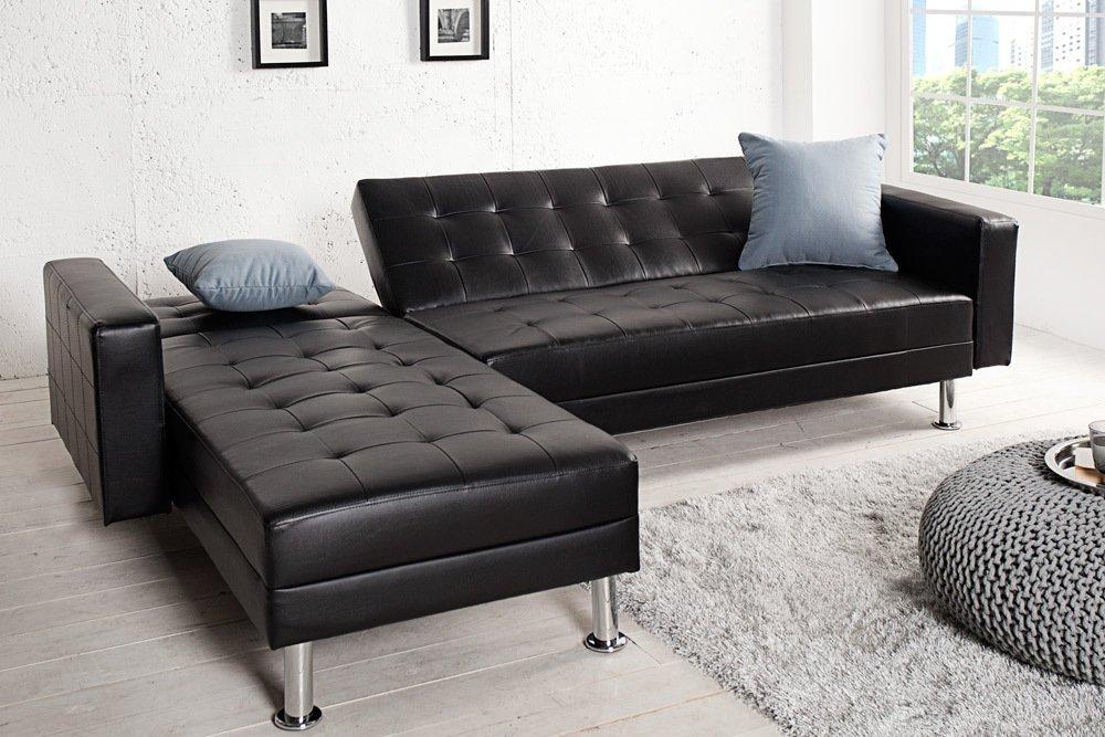Ecksofa design  Design Ecksofa CHAISE LOUNGE mit Schlaffunktion Kunstleder schwarz ...