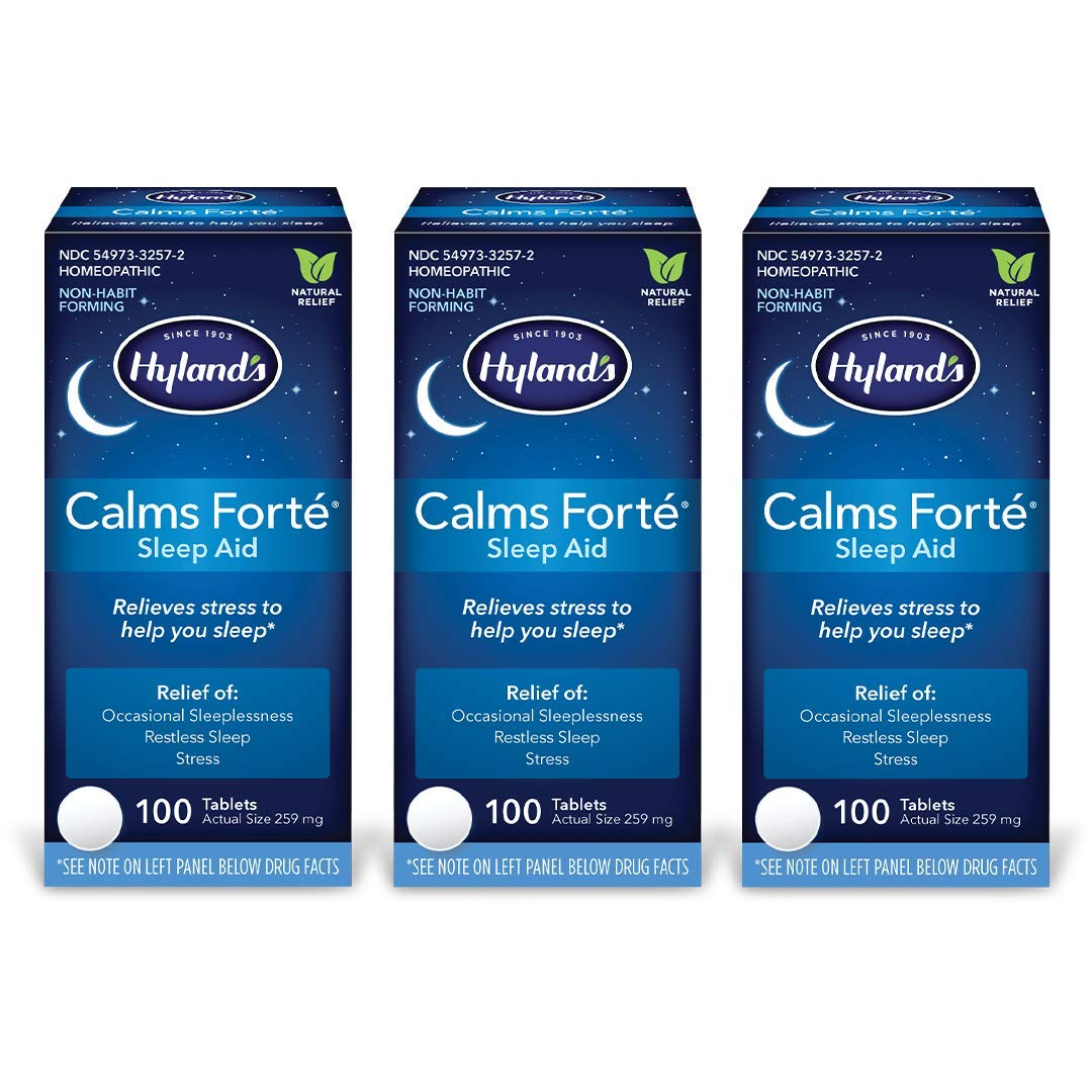 Natural Sleep Aid Pills, Calms Forte by Hyland's, Insomnia and Stress Relief Supplement, 100 Tablets (Pack of 3)