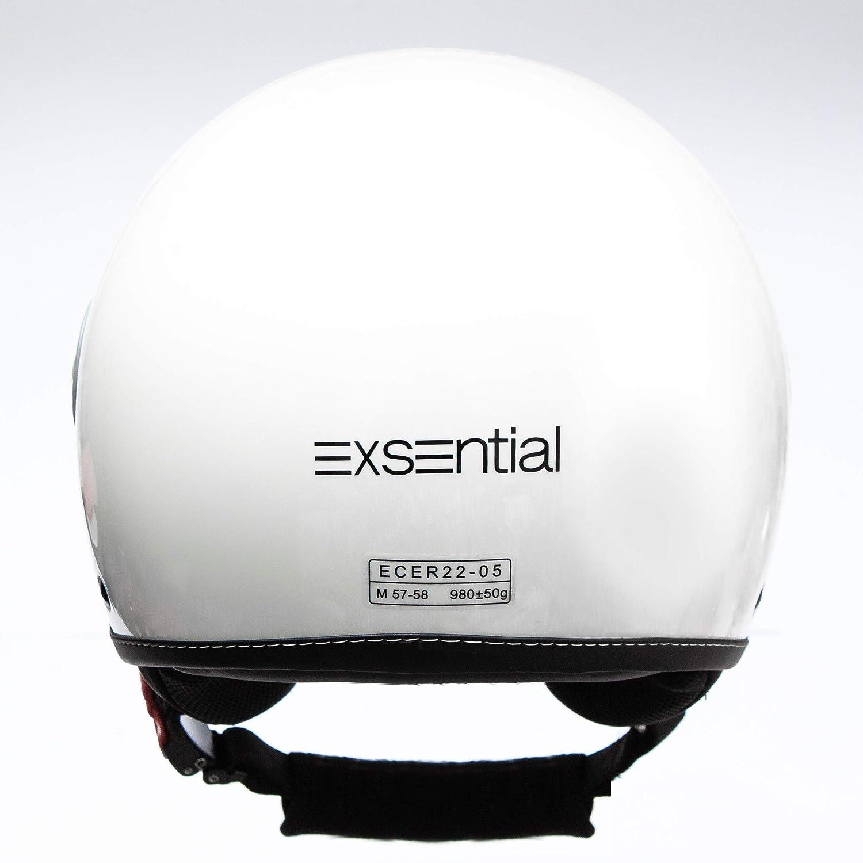 CASCO EXSENTIAL DEMI JET EX 730 VL BIANCO LUCIDO HELMET HELME CASQUE CAPACETE SCOOTER MOTO XL