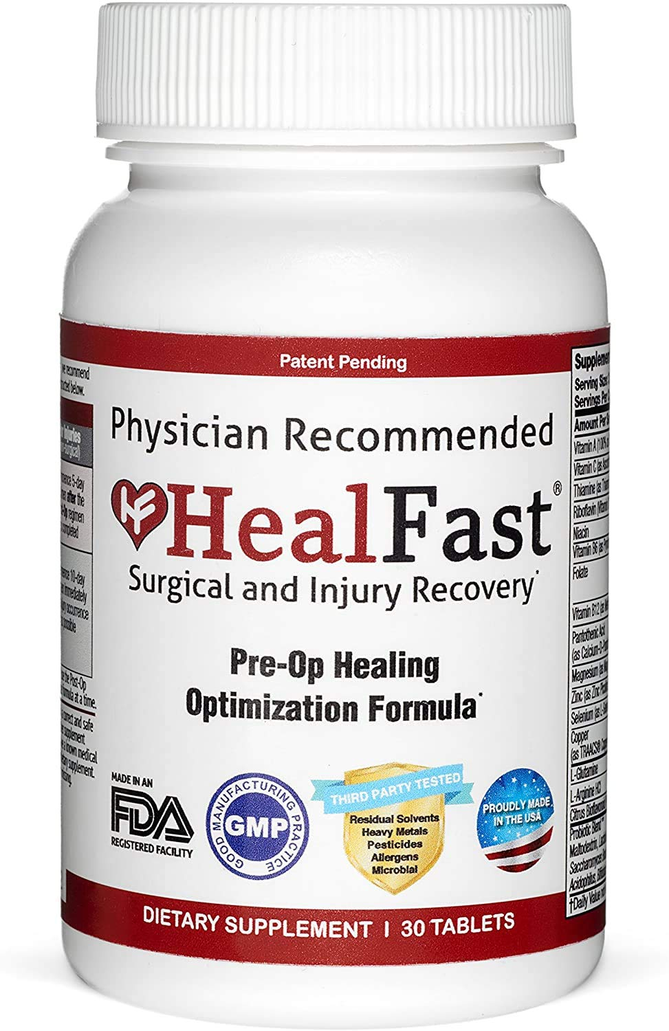 HealFast Surgery & Injury Recovery Supplement (Pre-Op): Supports Pre Surgery Optimization - for Wound Healing, Pain Relief, Scar Treatment & Bruising w/ Amino Acids, Vitamins, Probiotics - 30 Capsules