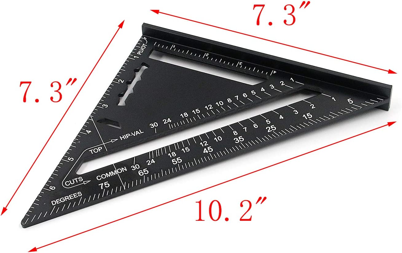 MTMTOOL 7-Inch Triangle Square Aluminum Alloy Rafter Carpenter Metric and Imperial Precision Triangle Protractor Scale Measuring Tool