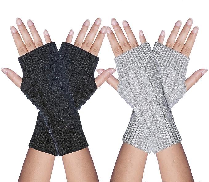 Loritta 2 Packs Women Winter Warm Fingerless Gloves Crochet ...