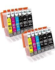 LxTek Compatible Canon 650XL PGI-650 XL 651XL CLI-651 XL Ink Cartridges for Canon PIXMA MG5460 MG5560 MG6360 MG6460 MG7160 MG7260 IP7260 IP8760 IX6860 MX726 MX926 Printer (12 Pack)