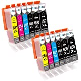 LxTek Compatible Canon 650XL PGI-650 XL 651XL CLI-651 XL Ink Cartridges for Canon PIXMA MG5460 MG5560 MG6360 MG6460 MG7160 MG7260 IP7260 IP8760 IX6860 MX726 MX926 Printer (12 Pack)