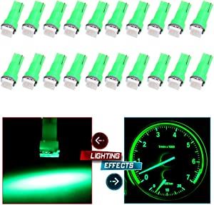 cciyu 20 Pack T5 0.5W Green Led T5 5050 Tri-Cell SMD LED Chips/1-5050SMD Dashboard Dash Gauge Instrument Panel Light 2721 407 85 86
