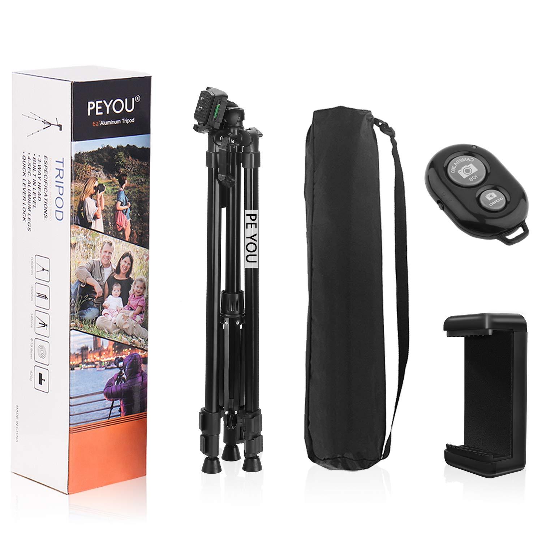 PEYOU Tr/ípode C/ámara de Viaje Upgrade Versi/ón 157cm de Aluminio Tr/ípode de Tel/éfono con Adaptador de Tel/éfono + Control Remoto Bluetooth + Bolsa para iPhone, Samsung, iPad, C/ámara DSLR