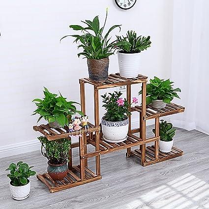 d5016a3930cb estantes para plantas / estanteria jardin Soporte de flores de madera maciza  Suculentas Balcón de varias