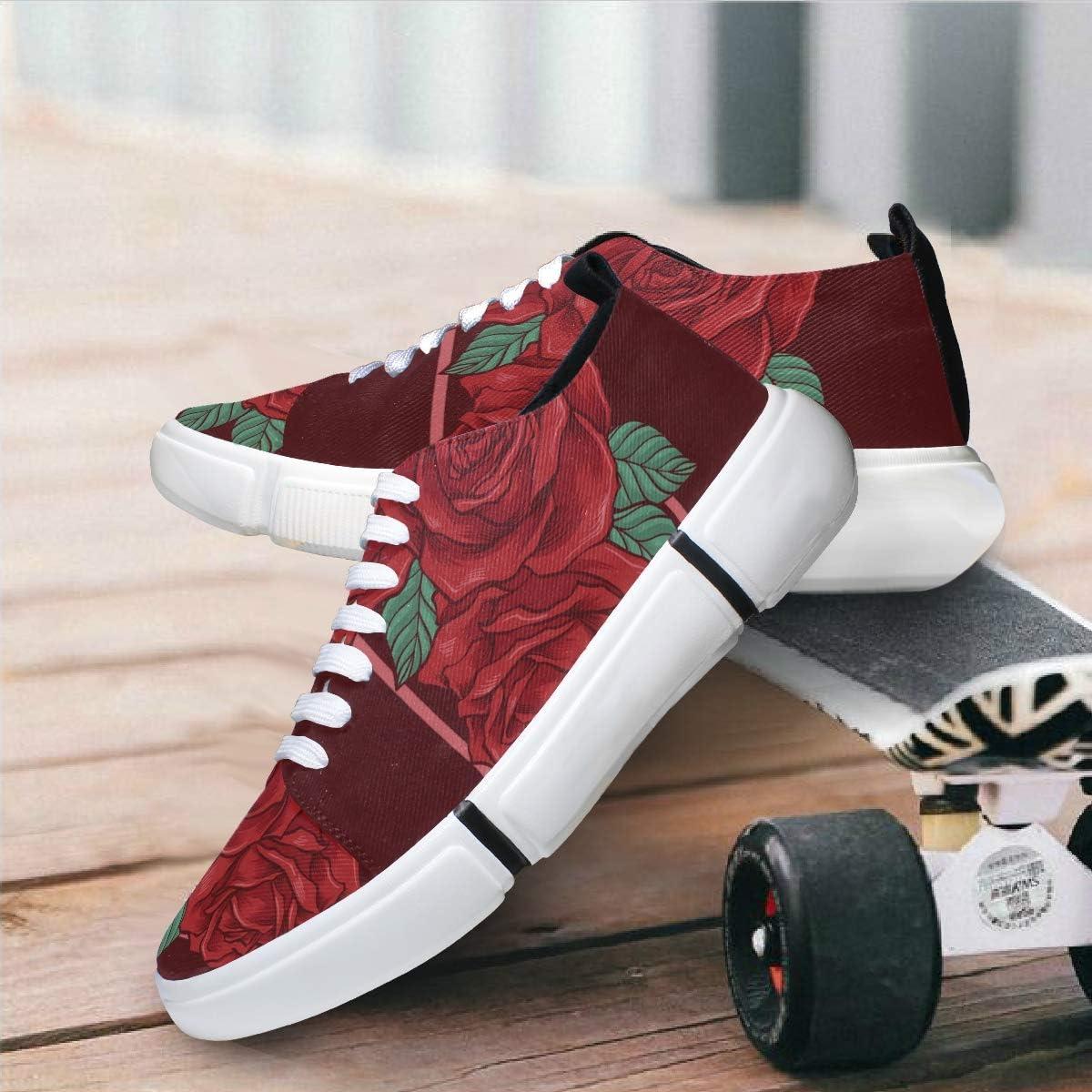 FANTAZIO - Zapatillas de Running para Hombre, diseño de Rosas Rojas: Amazon.es: Zapatos y complementos