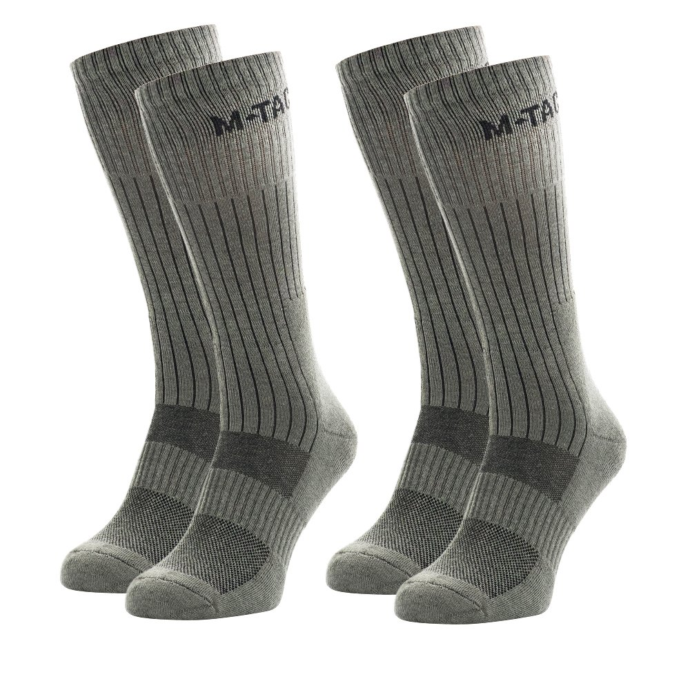 tactical socks - crew socks - military boot socks - pack (Olive 2 Pairs, Large)