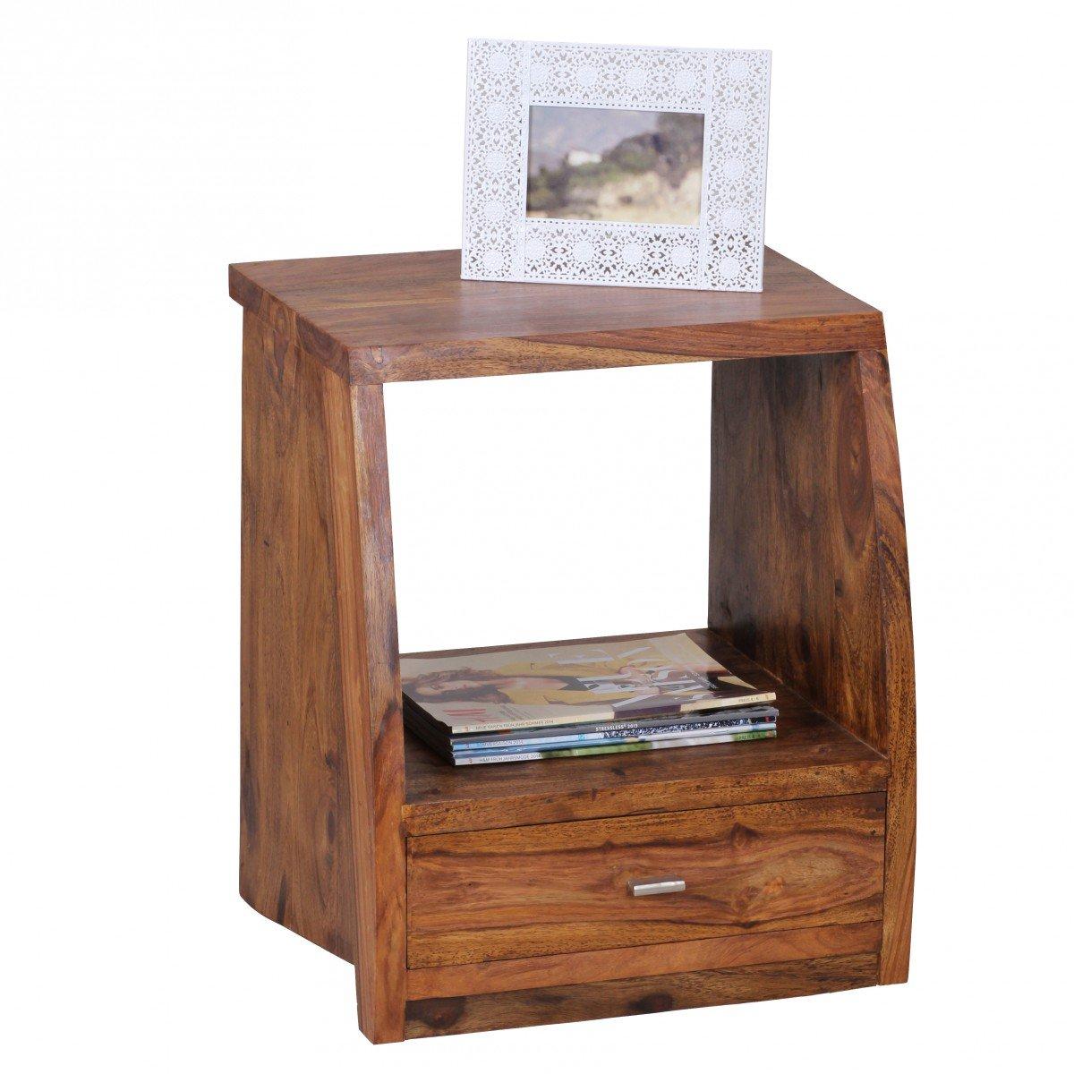KadimaDesign Sheesham Comodino Legno massello con 1 cassetto e Vassoio 45 x 53 x 40 cm KADIMA DESIGN