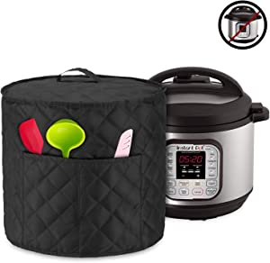 Luxja Dust Cover for 6 Quart Instant Pot, Cloth Cover with Pockets for Instant Pot (6 Quart) and Extra Accessories, Black Quilted Fabric (Medium)
