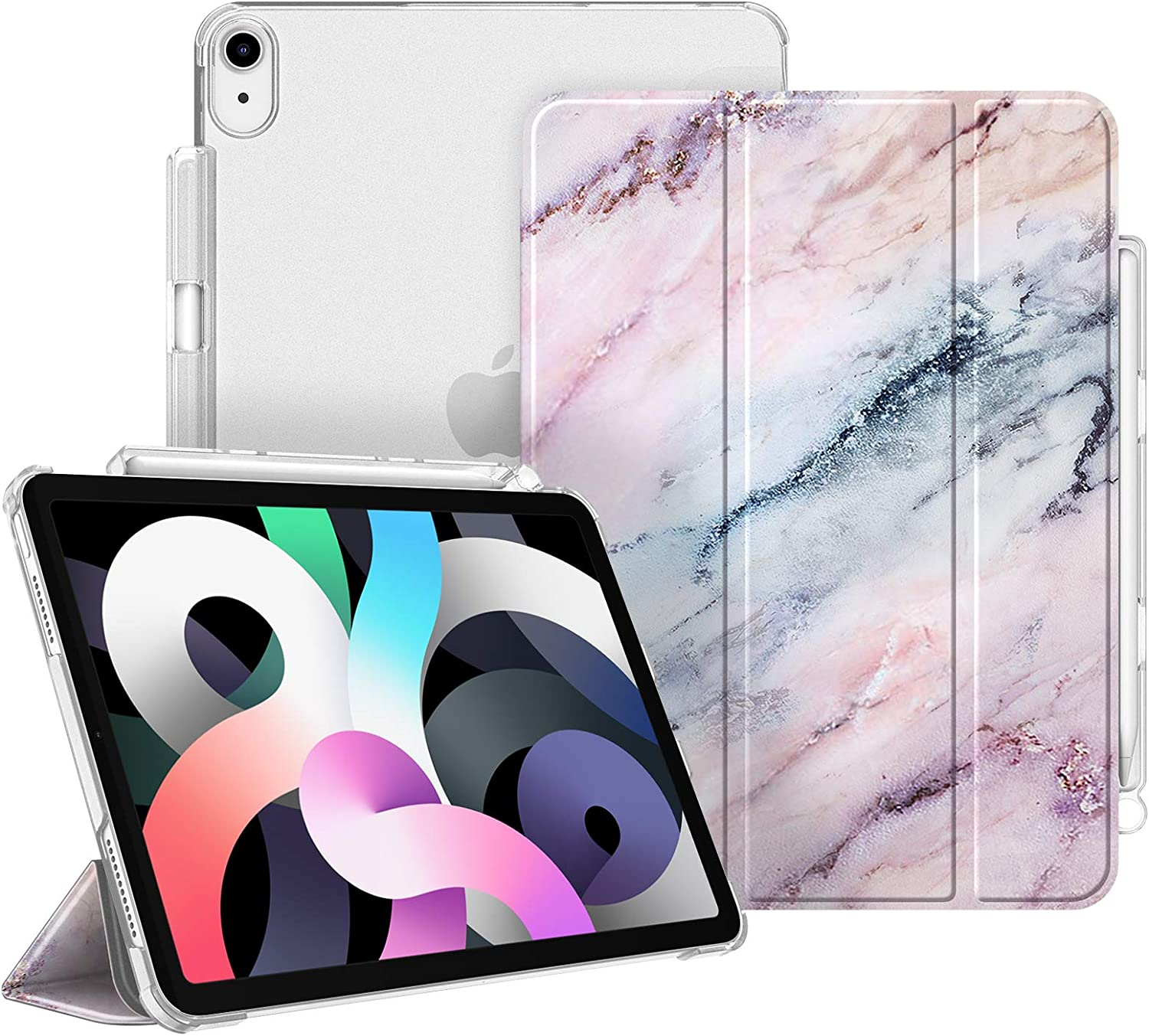 Fintie Case for iPad Air 4 10.9 Inch 2020 with Pencil Holder - SlimShell Lightweight Stand Case with Translucent Frosted Back Cover, Auto Wake/Sleep for iPad Air 4th Generation, Marble Pink