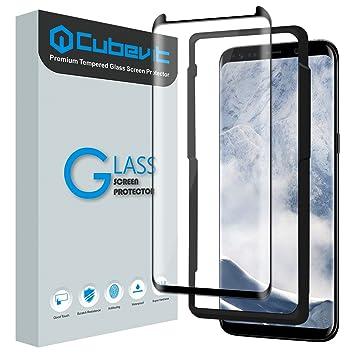 Cubevit Protector de pantalla para Galaxy S8 Plus, fácil instalación/cobertura total/no daña la carcasa/libre de burbujas/vidrio temperado/curvado/3D: ...