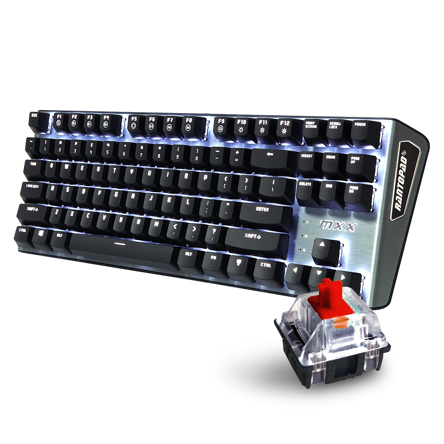 Amazon mechanical keyboard - Amazon Com Rantopad Mxx Mechanical Gaming Keyboard 87 Keys White Backlit Red Switches Grey Aluminum Cover N Key Rollover Computers Accessories