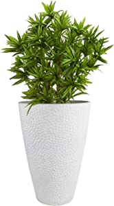 LA JOLIE MUSE Large Outdoor Tall Planter - 20in Indoor Tree Planter, Plant Pot Flower Pot Containers, White,Honeycomb