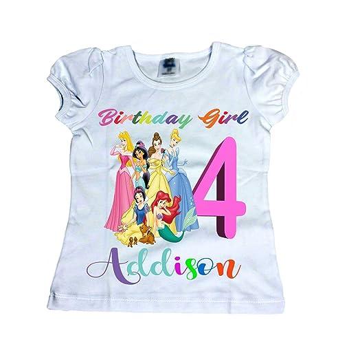 Amazon Disney Birthday Shirt Girl Princess Age Name Shirts Handmade