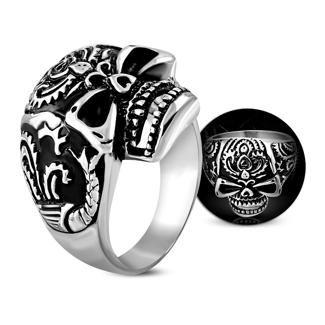 Stainless Steel 2 Color Vintage Gothic Ghost Skull Brain Biker Ring