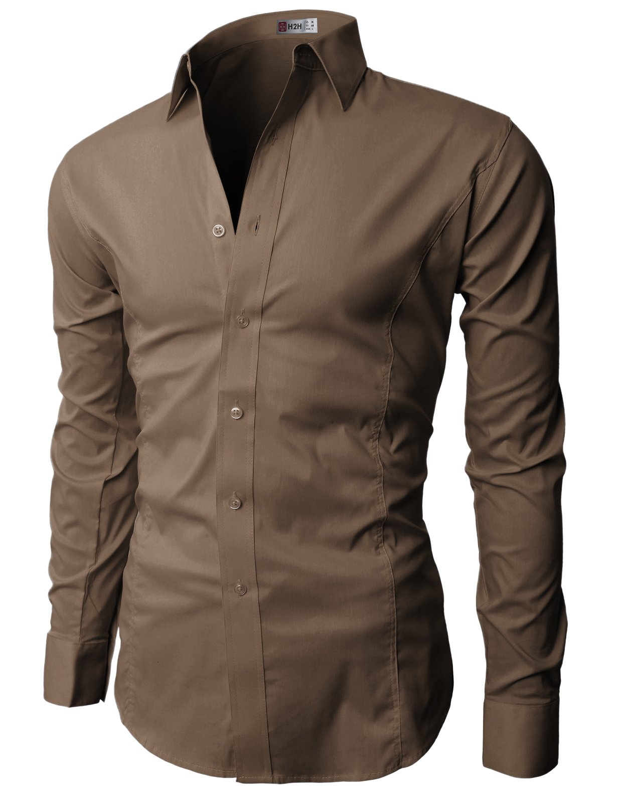 H2H Mens Wrinkle Resistant Slim Fit Dress Long Sleeve Shirts with BROWN US L/Asia XXL (JASK14)