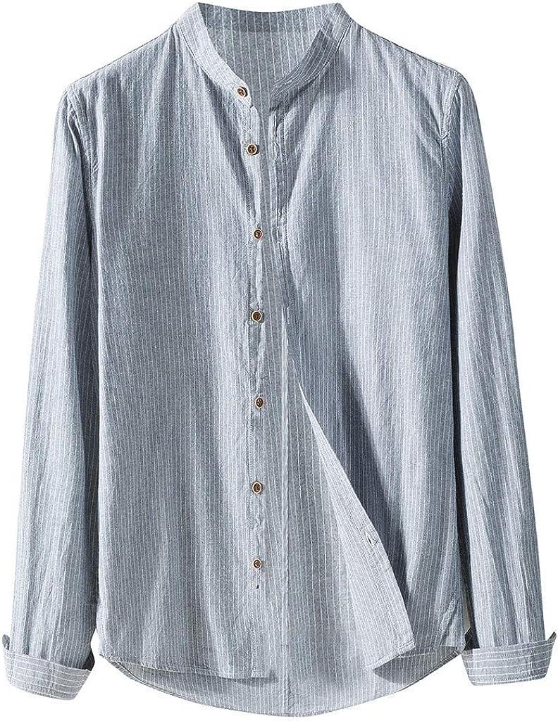 YEBIRAL Camisetas Hombre Manga Larga, Casual Regular Suelto Color Sólido Cuello Mao con Botones Blusa Tops Camisetas Hombre Originales(L, Azul): Amazon.es: Ropa y accesorios