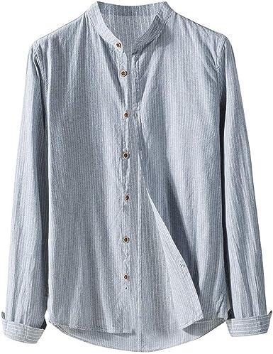 Sylar Camisas Hombre Manga Larga Ropa Hombre Otoño Camisa De Rayas para Hombre Camisa De Algodón Y Lino Casual Blusa Slim Fit Tops Shirts Collar De Pie: Amazon.es: Ropa y accesorios