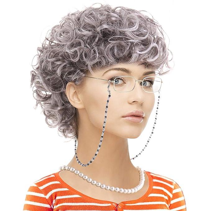Amazon.com: Set de disfraz de abuela con peluca, gorras de ...