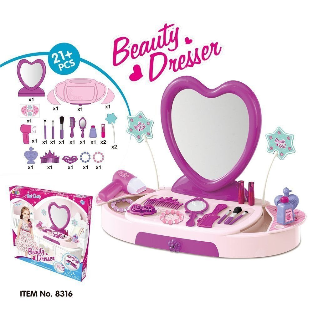 Girls Pretend Play Princess Glamour Mirror Dressing Table Vanity Desk  Beauty Play Set Accessories 21+ Pieces: Amazon.co.uk: Toys & Games