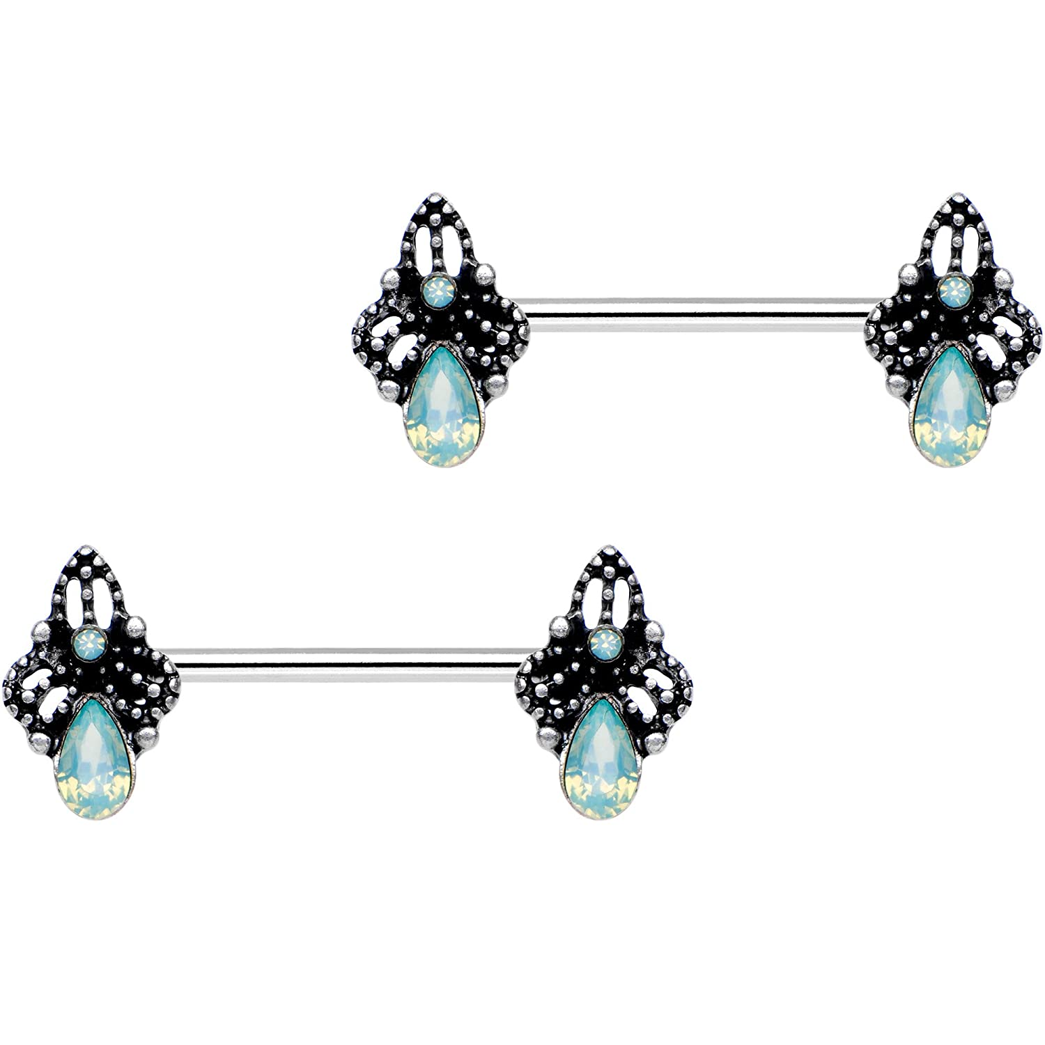 Body Candy Steel Green Accent Victorian Raindrop Barbell Nipple Ring Set of 2 14 Gauge 9//16