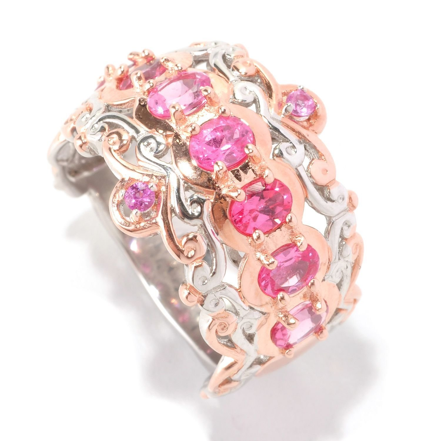 Amazon.com: Michael Valitutti Palladium Silver Pink Spinel & Pink ...