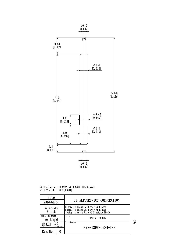 スプリングプローブ(ポゴピン) 両端プローブピン 8YK-D39H-L584-I-E 1パック100個入