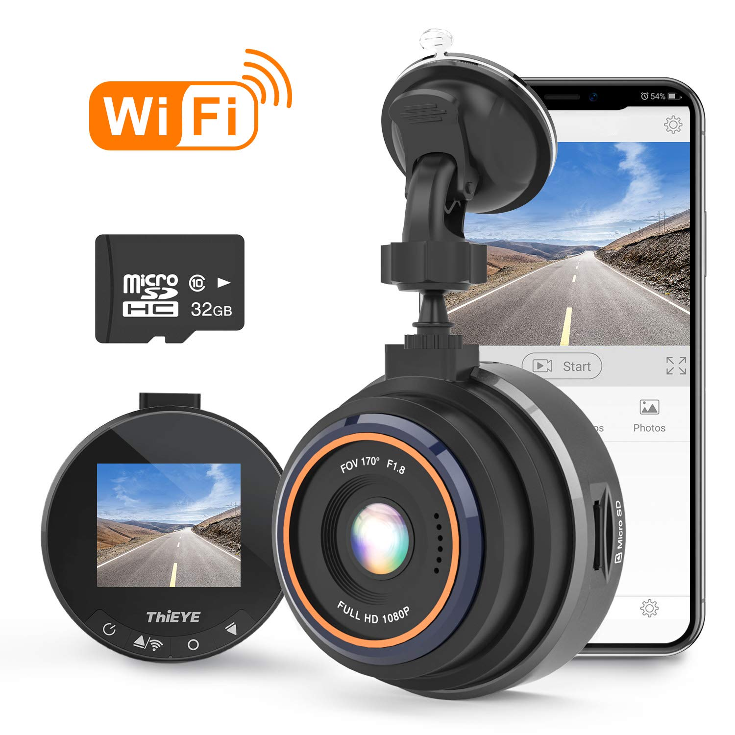 THiEYE Dash Cam WiFi, Dashcam for Car Driving Recorder 1080P FHD LCD Screen Driving Recorder, Phone App, Night Vision, Wide Angle Lens, G-Sensor, WDR, Loop Recording, SD Card Included by ThiEYE