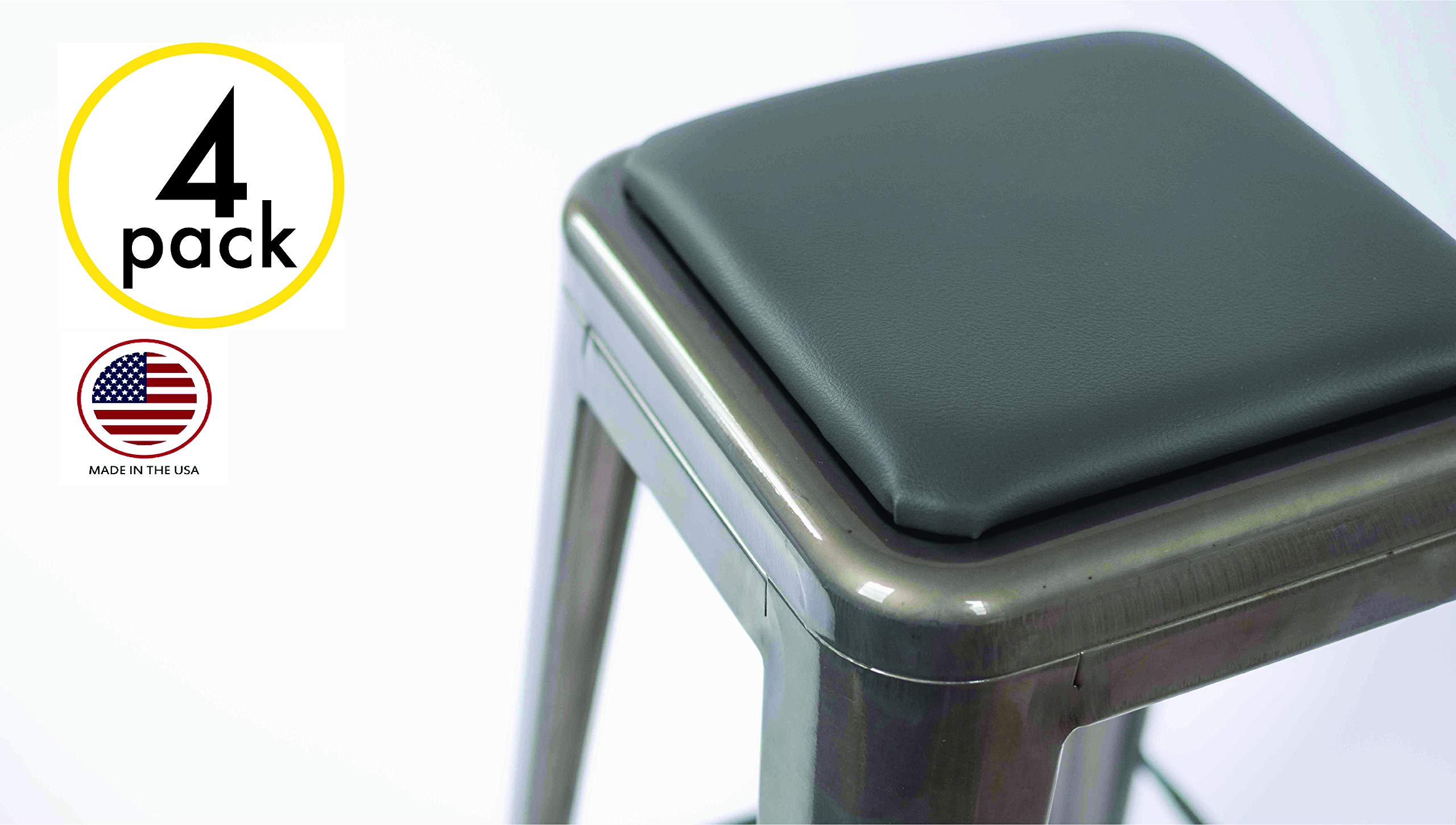 Square Stool Cushion for Industrial/Modern/Farmhouse and Other Metal Stools - Made in USA (Grey 4 Pack)