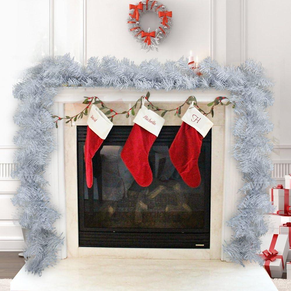 Surfmalleu Guirnalda de Navidad Blanco Artificial Decoración Navideña para Escaleras Puerta Pared Chimenea 2.7m Corona Nórdica Christmas Decoracion (4): Amazon.es: Hogar