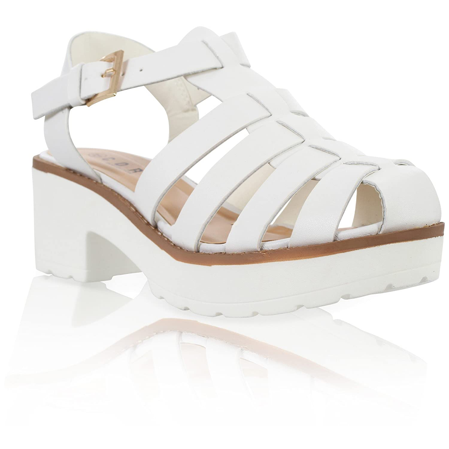 6845a1d3f1f CORE COLLECTION Womens Ladies Cut Out Chunky Block Heel Ankle Strap  Gladiator Sandals Shoes