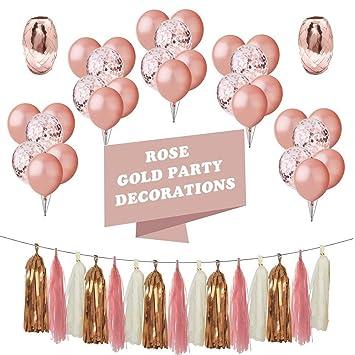 MAIKEHIGH Oro Rosa Globos Decoración Fiesta 48 Pieza, 10 Confeti Globos 12,