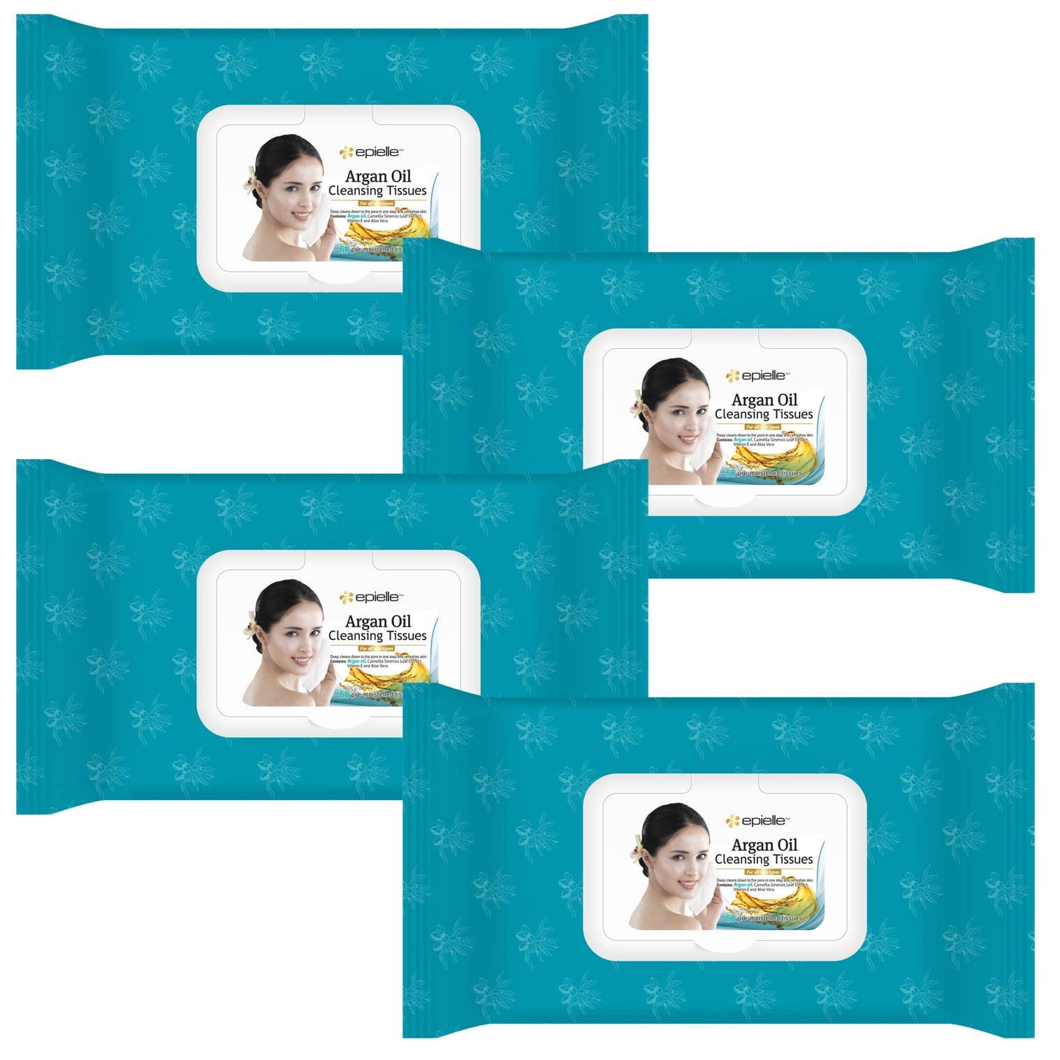 Kareway Epielle Argan Oil Facial Makeup Remover Cleansing Tissues Wipes Towelettes - 60ct (Sheets) per pack, Total 4 packs by Epielle